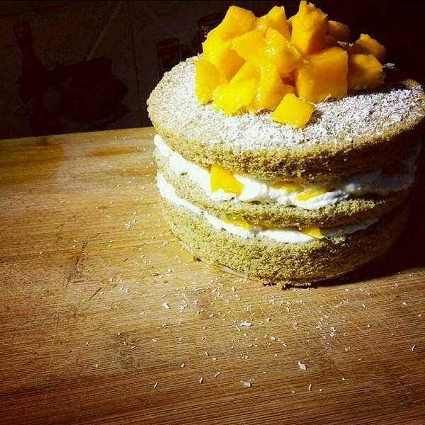 芒果奶油抹茶蛋糕