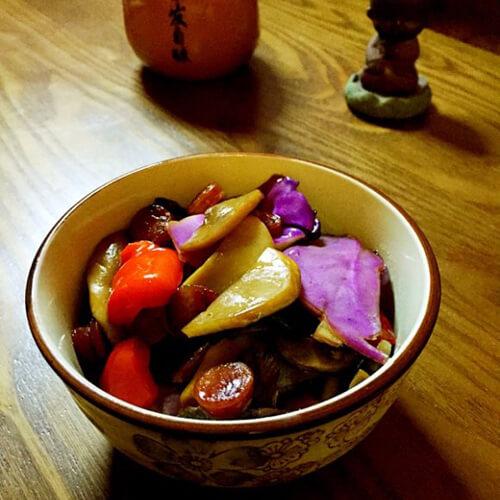 香肠炒蘑、菇