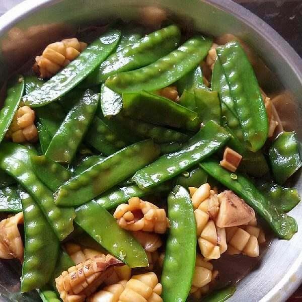 兰豆炒牛肉丸