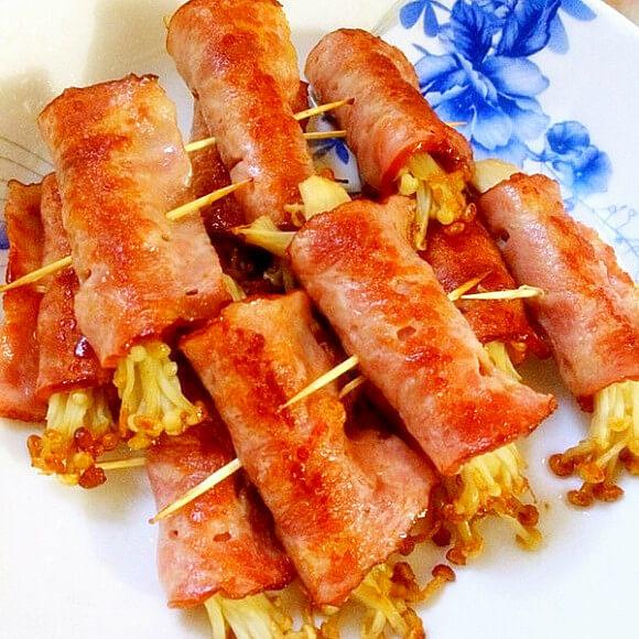 培根金针菇韭菜卷