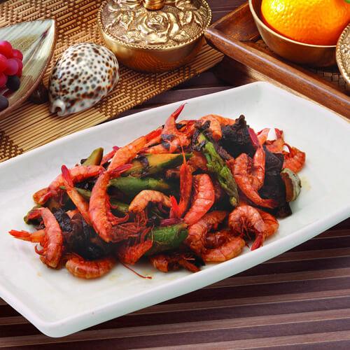 美味的秋葵炒海虾