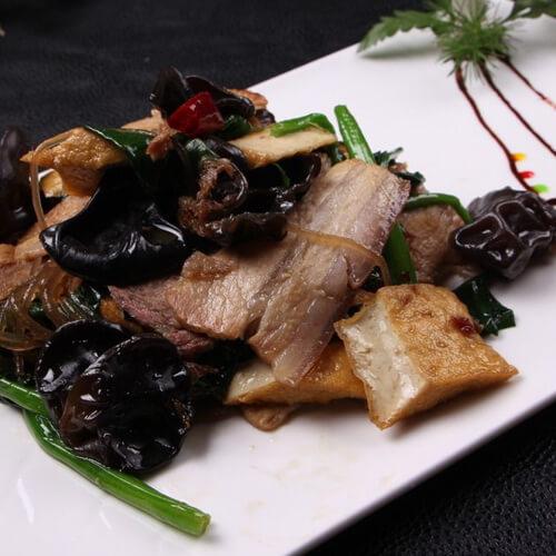 干豆腐木耳蒜苗炒肉片