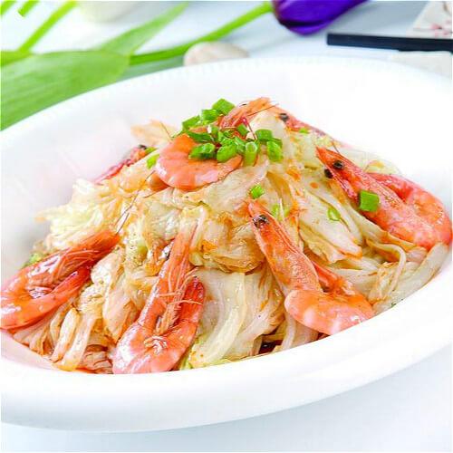 软壳虾炒白菜