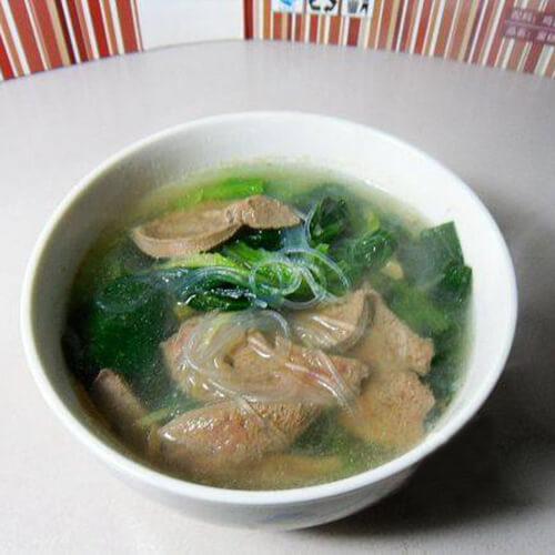 猪肝菠菜粉丝汤