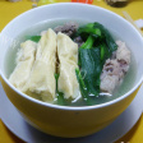 妈妈做的油菜蕻饺子波纹面