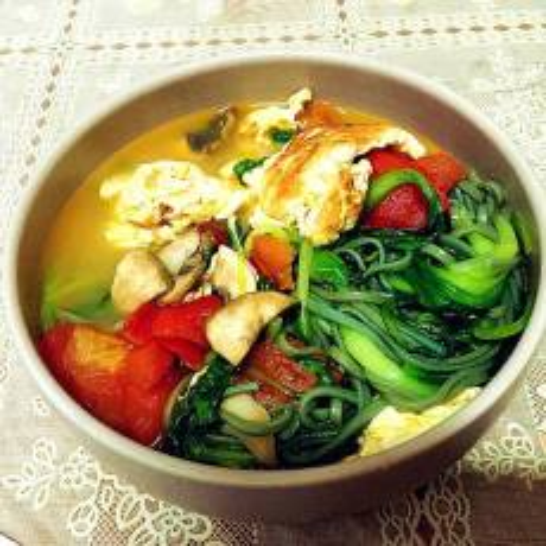 美味的青菜番茄炒蛋