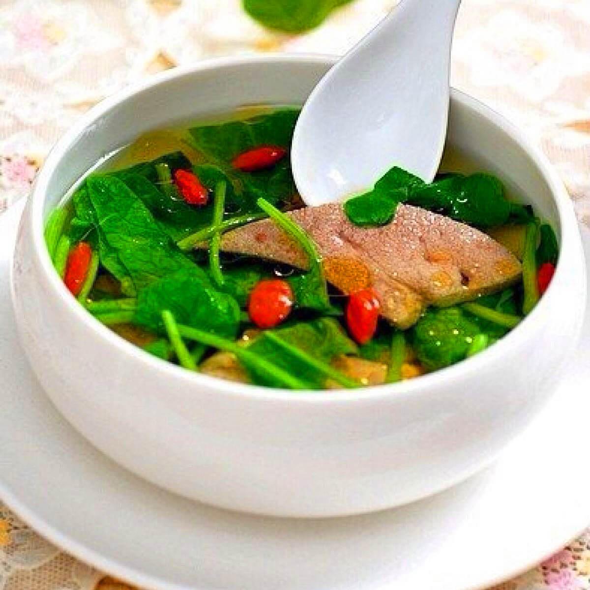 香葱煮猪肝汤