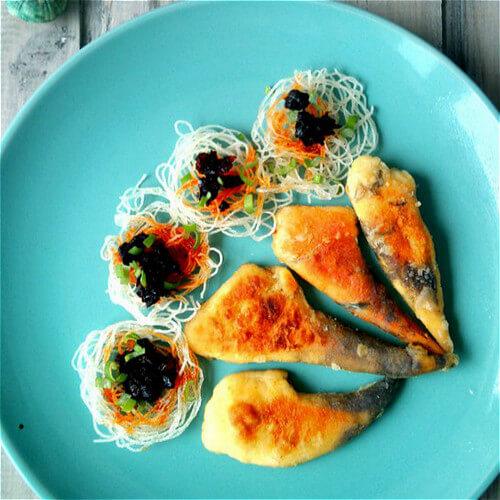 香辣豆豉煎鱼籽
