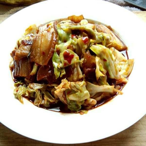 圆白菜香炒烤鸭