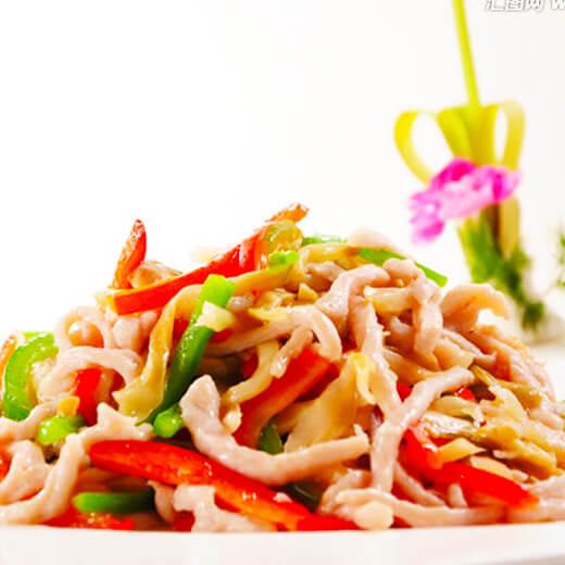 白菜豆片炒肉丝