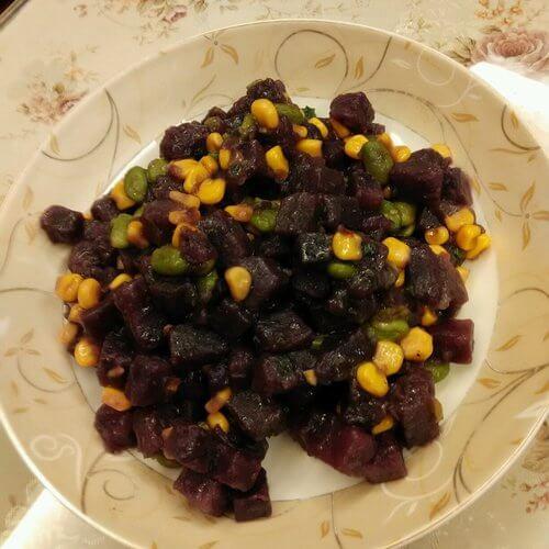 紫薯炒玉米