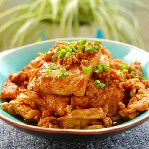 肉末油菜蕻炒老豆腐