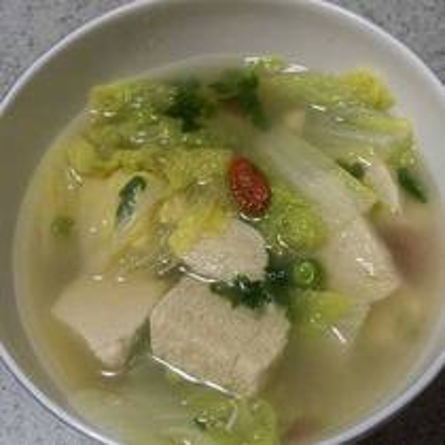 小白菜羊肉卷豆腐汤