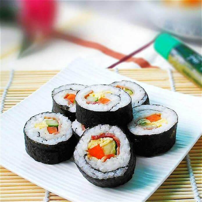 好吃的培根虾仁寿司