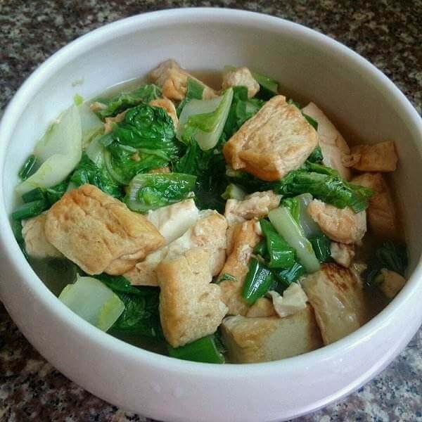 煎豆腐烧青菜