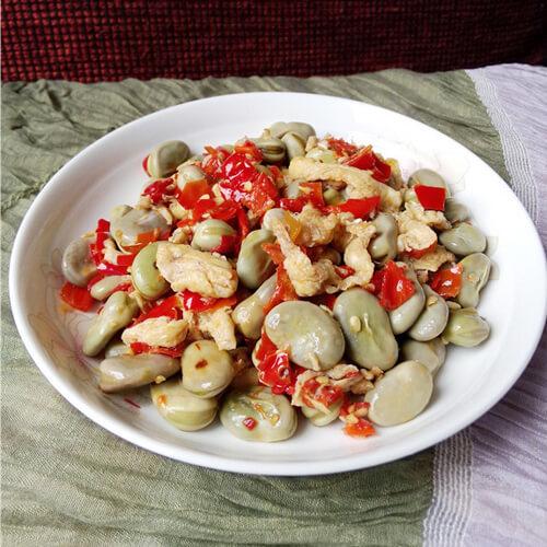红剁椒炒蚕豆