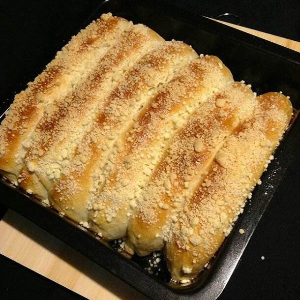 自制榴莲陷酥粒排包