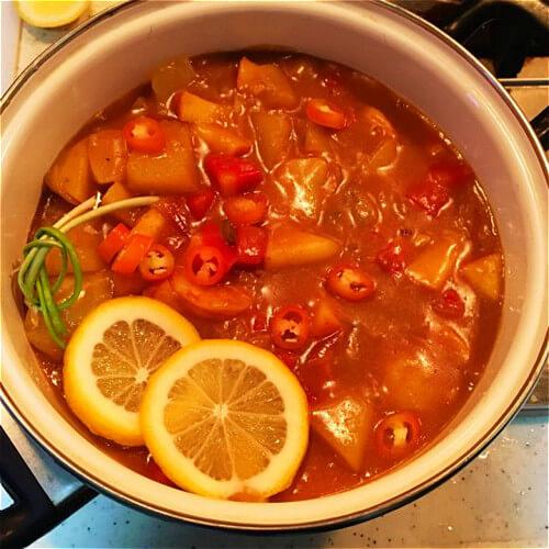 苹果咖喱虾