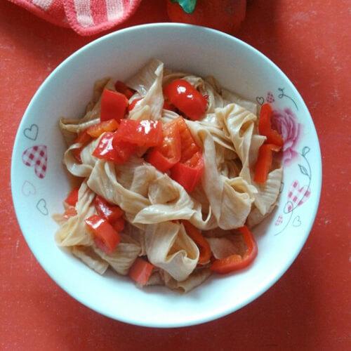 红菜椒炒豆腐皮