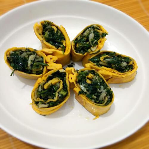 蛋皮荠菜卷