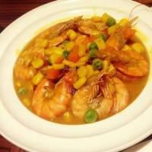 美味的苹果咖喱虾