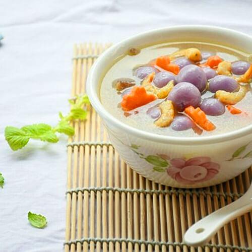 紫玉山药咸汤圆