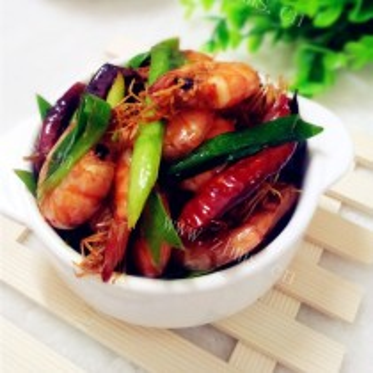 青蒜炒金钩虾