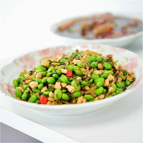 雪菜炒青豆