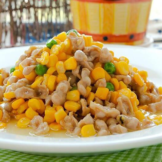 开胃的玉米炒酸豆角