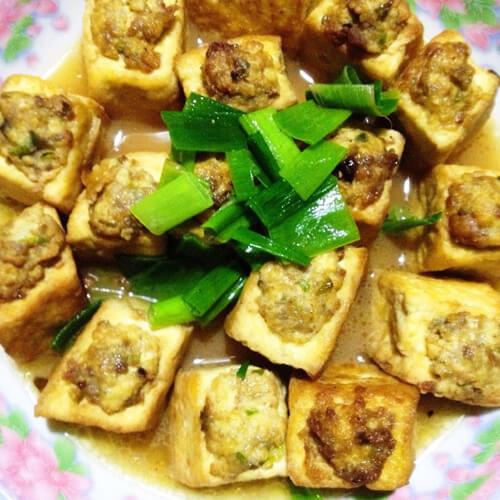 清蒸肉末酿豆腐