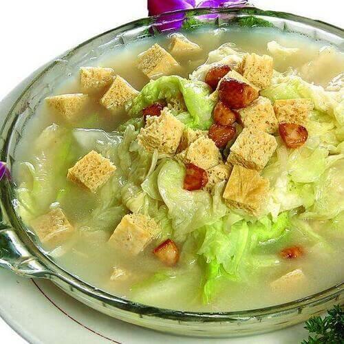 白菜海鲜冻豆腐
