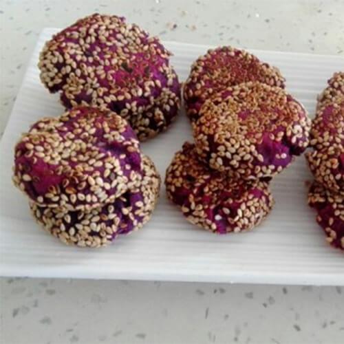 芝麻紫薯饼--无油无糖