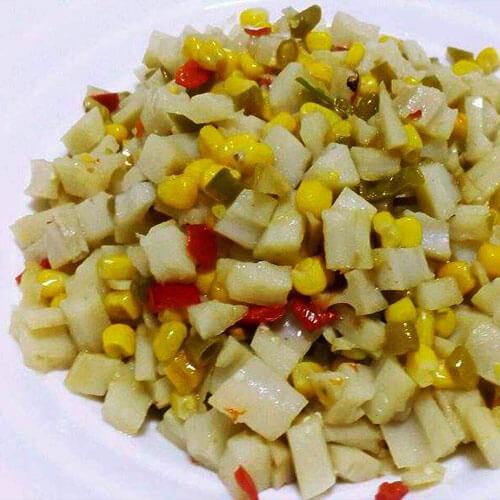 家常玉米炒酸豆角