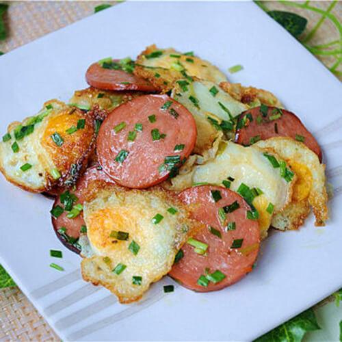 鹌鹑蛋香煎火腿片