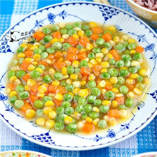 青豆玉米炒胡萝卜粒