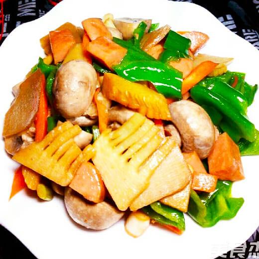 蒜末茼蒿炒火腿