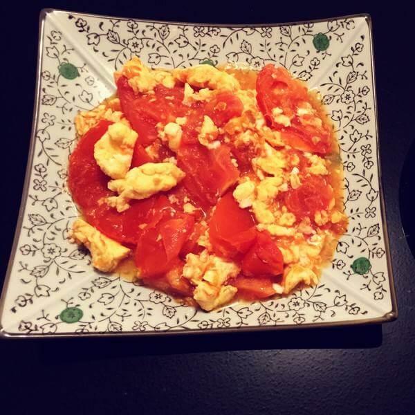家常青菜番茄炒蛋