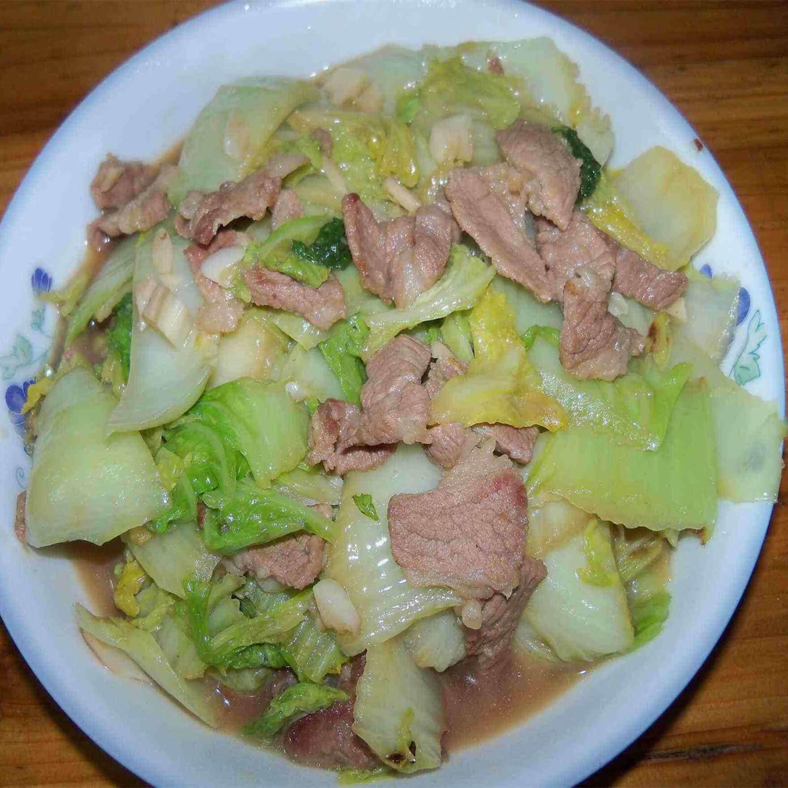 白菜苗炒五花肉