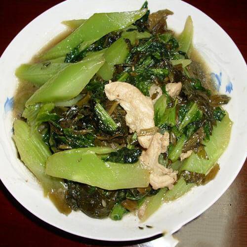 里脊肉雪菜炒莴笋