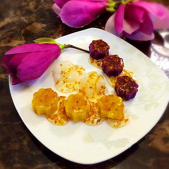 桂花蜜汁山药红薯紫薯