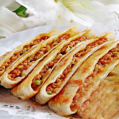 美味的青椒猪肉太阳饼