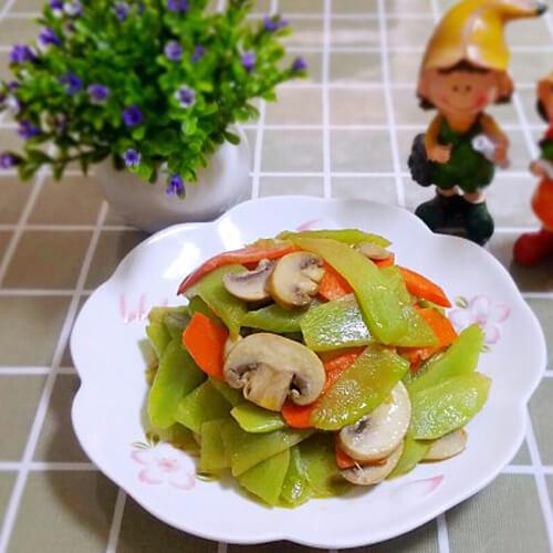 莴苣炒蘑菇