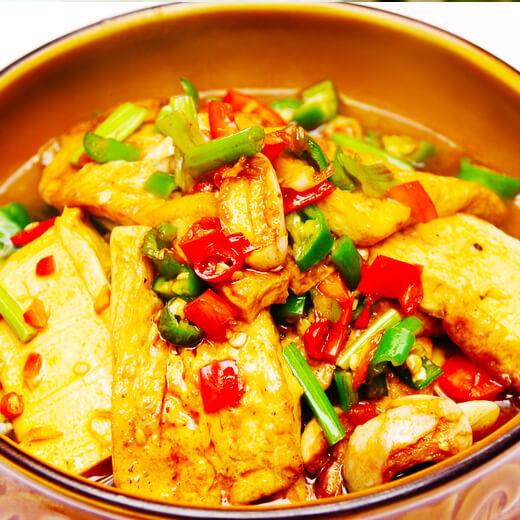 青椒杂蔬煎豆腐