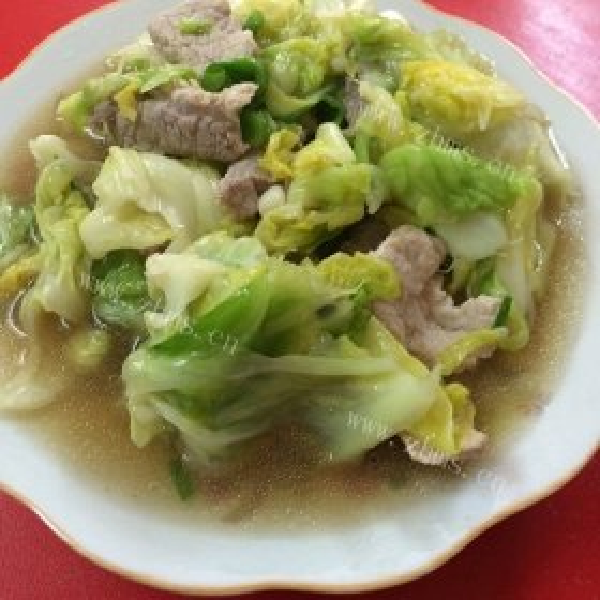 圆白菜炒肉丝