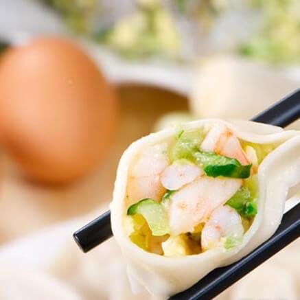 鲜虾黄瓜馅元宝水饺