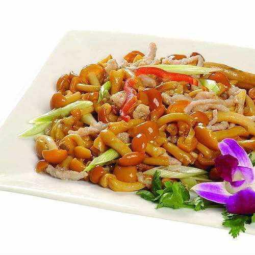 家常小菌菇炒肉丝