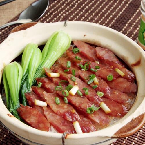 简单洋葱腊肠紫米饭