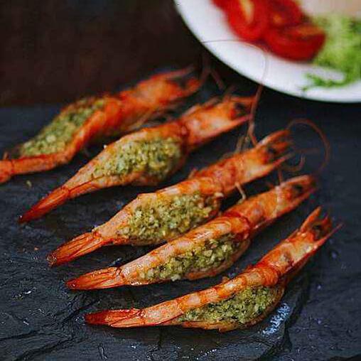 美味的薄荷蒜蓉虾