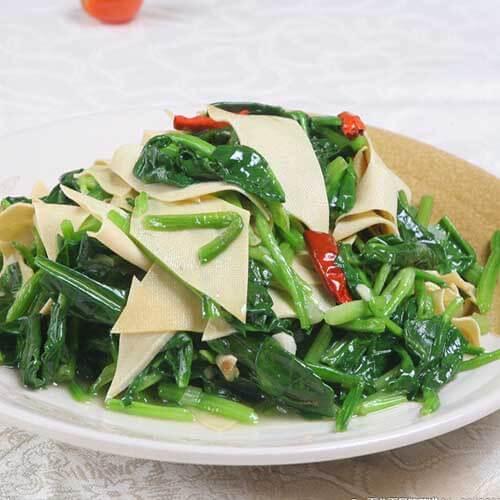 豆皮凉拌菠菜