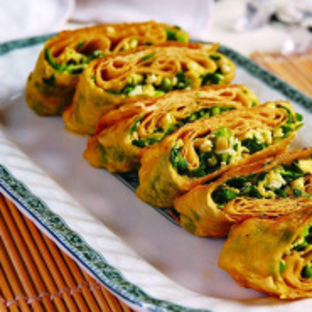 韭菜蟹柳鸡蛋饼